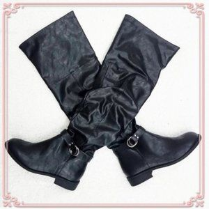 Over the knee Buckle Slouchy Faux Leather boots 8